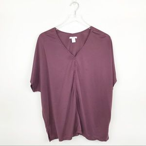 bar III Burgundy V Neck Short Slee Blouse Size XL